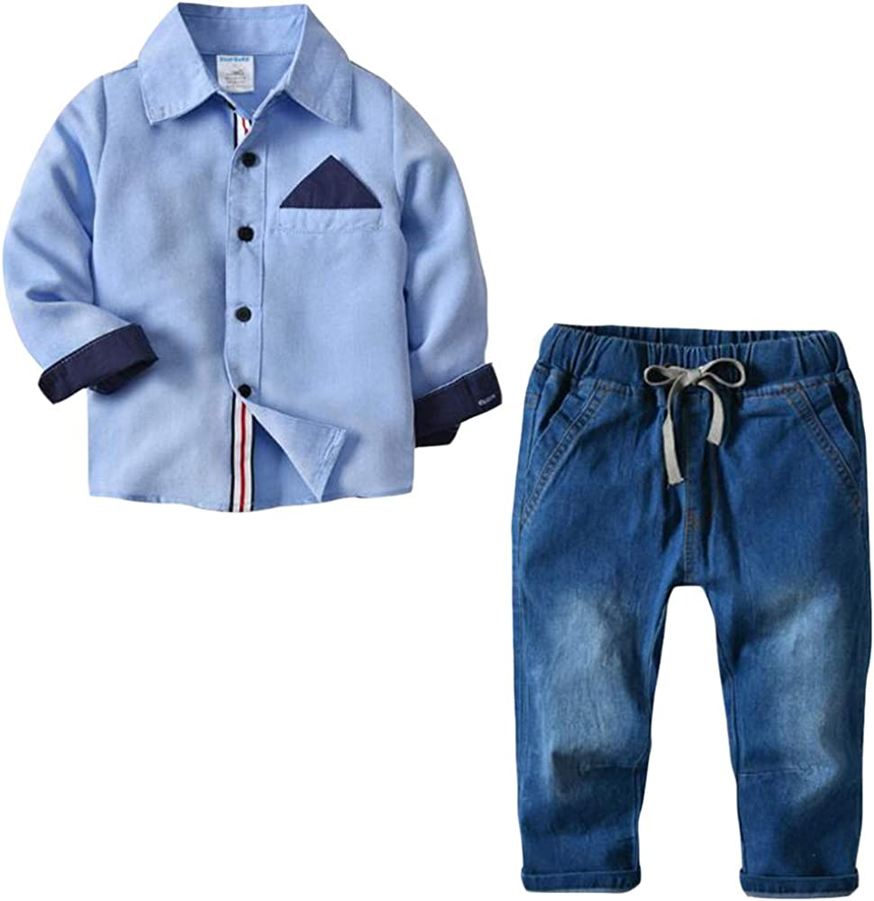 Conjunto de Tres Piezas para Bebé Niño Camisa de Manga Larga + + Pantalones de Jeans Traje de Bautizo Fiesta Boda Ceremonia: Amazon.es: Ropa y accesorios