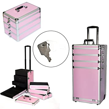 dbe9559276dd Amazon.com   Kimmi-Hommi 4-in-1 Portable Professional Aluminum Rolling  Trolley Makeup Train Case (Pink)   Beauty