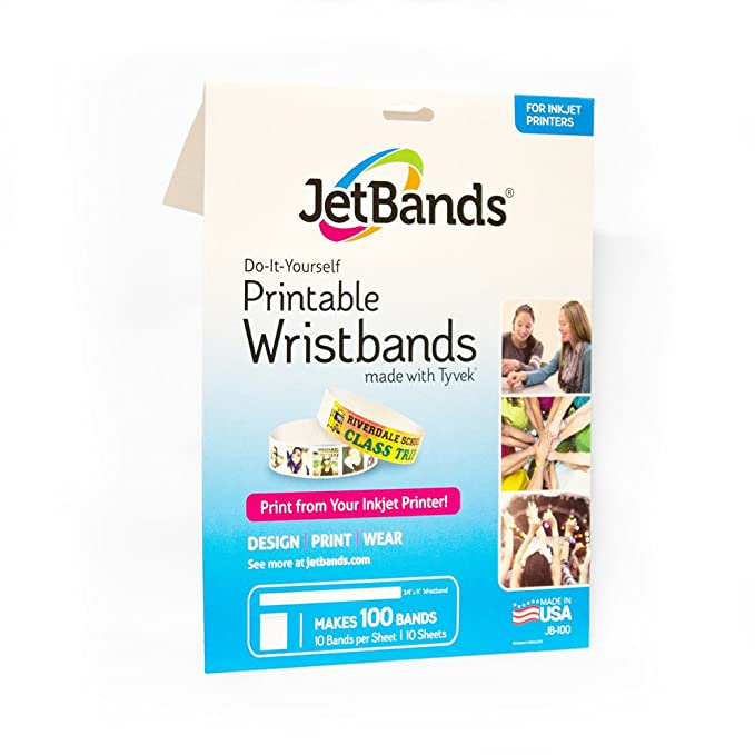 graphic regarding Printable Wristband Sheets titled JetBands Do-it-yourself Inkjet Printable Tyvek Wristbands - 100 Rely