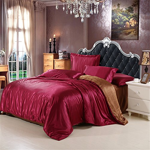 Duvet Cover Set With Flat Sheet Queen Size 4 Piece Silk Like Bedding 1 Zipper Duvet Cover,1 Flat ...