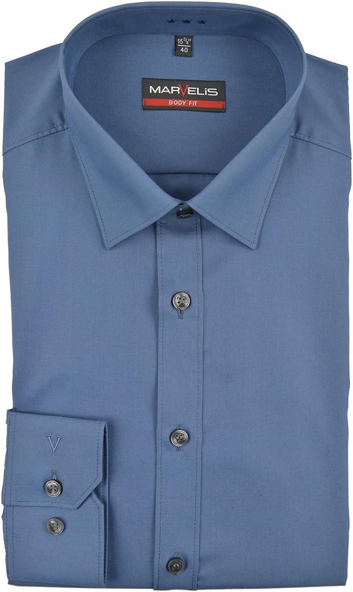 Marvelis Camisa de manga larga para hombre, de algodón puro y fácil de planchar, color azul Azul ahumado. 41