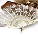White Luxury Rose Pattern Lace Folding Hand Held Flower Fan Dancing Party Fan Women Girl Dancing Fan