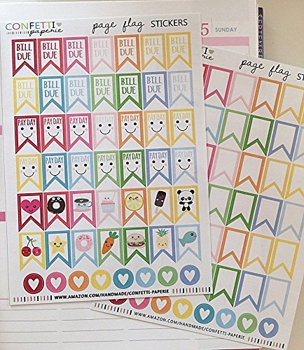 KAWAII Rainbow Page Flag Stickers, PAY DAY Flags, BILL DUE Flags, Blank RAINBOW Planner Stickers, Planner Accessory