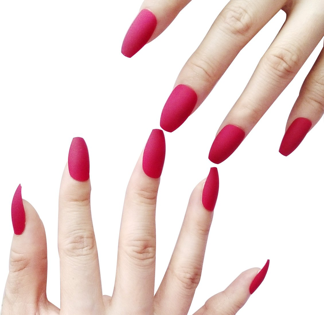 False Nails Coffin Shape Nails with Designed Matte Dark Red Short Medium Fake Nails Tips Piao Yang XK0000
