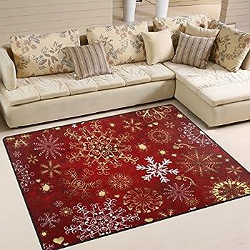 Christmas Rugs 5x7.Amazon Com Naanle Christmas Snowflake Non Slip Area Rug For