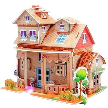 Amazon Com Thinice Dollhouse 3d Puzzle Diy Kit Toys Cartoon House