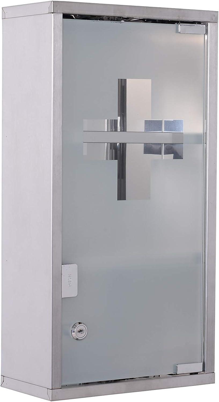 HOMCOM Medicinal Armario Medicamentos – Armario botiquín (3 Compartimentos Casa AOP mostrador Acero Inoxidable 25 X 12 X 48 Cm: Amazon.es: Hogar