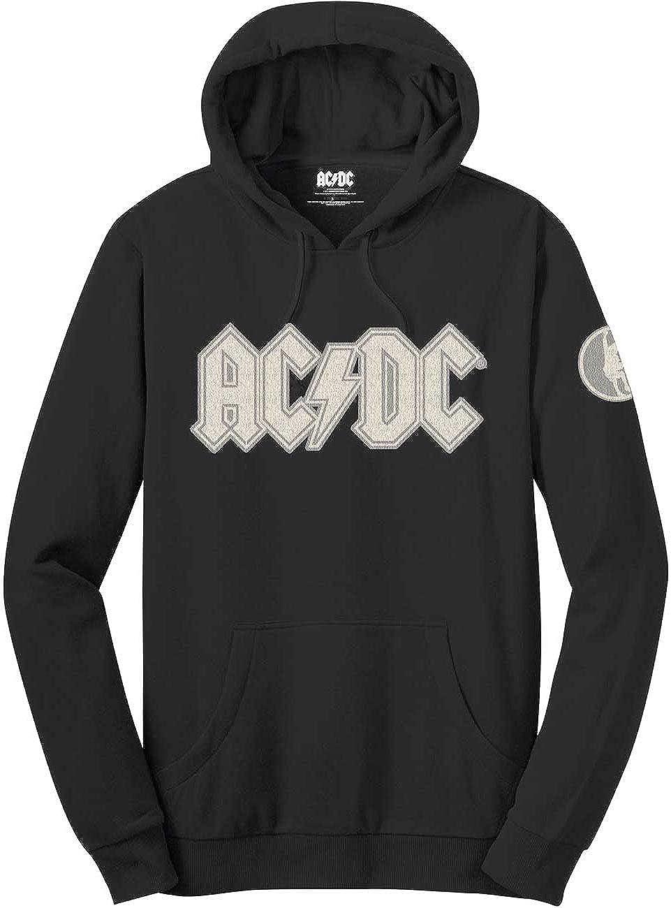 AC/DC ACDC Classic Band Logo Angus Young Hoodie Sweatshirt Applique Motifs Schwarz