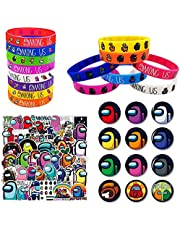 Among us Game Party Supplies 74 Pcs Party Favors Set Include 12 Bracelets, 12 Button Pins, 50 Stickers for Video Game Themed Party for Kids