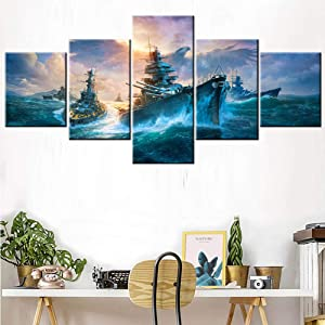 House Decor Living Room Military War Boat Paintings Historical Ship Pictures 5 Piece Prints on Canvas Dark Blue Wall Art Giclee Contemporary Artwork Wooden Framed Stretched Ready to Hang(50''Wx24''H)