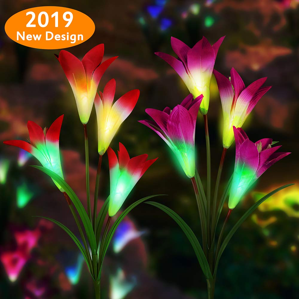 Solar Garden Lights - Etmury New Version Solar Lights Outdoor Decorative, 2 Pack Multi-Color Changing Lily Solar Powered Lights with 8 Lily Flower for Garden, Yard, Patio, Path