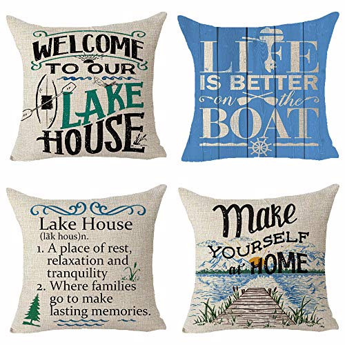 Set of 4 Words Welcome To Our Lake House Life Is Better On The Boat Wood Grain Mountain Color Painting Pillows Cotton Linen Decorative Home Office Throw Pillow Case Couch Cushion Cover 18X18 inches (Pillows Throw Lake)