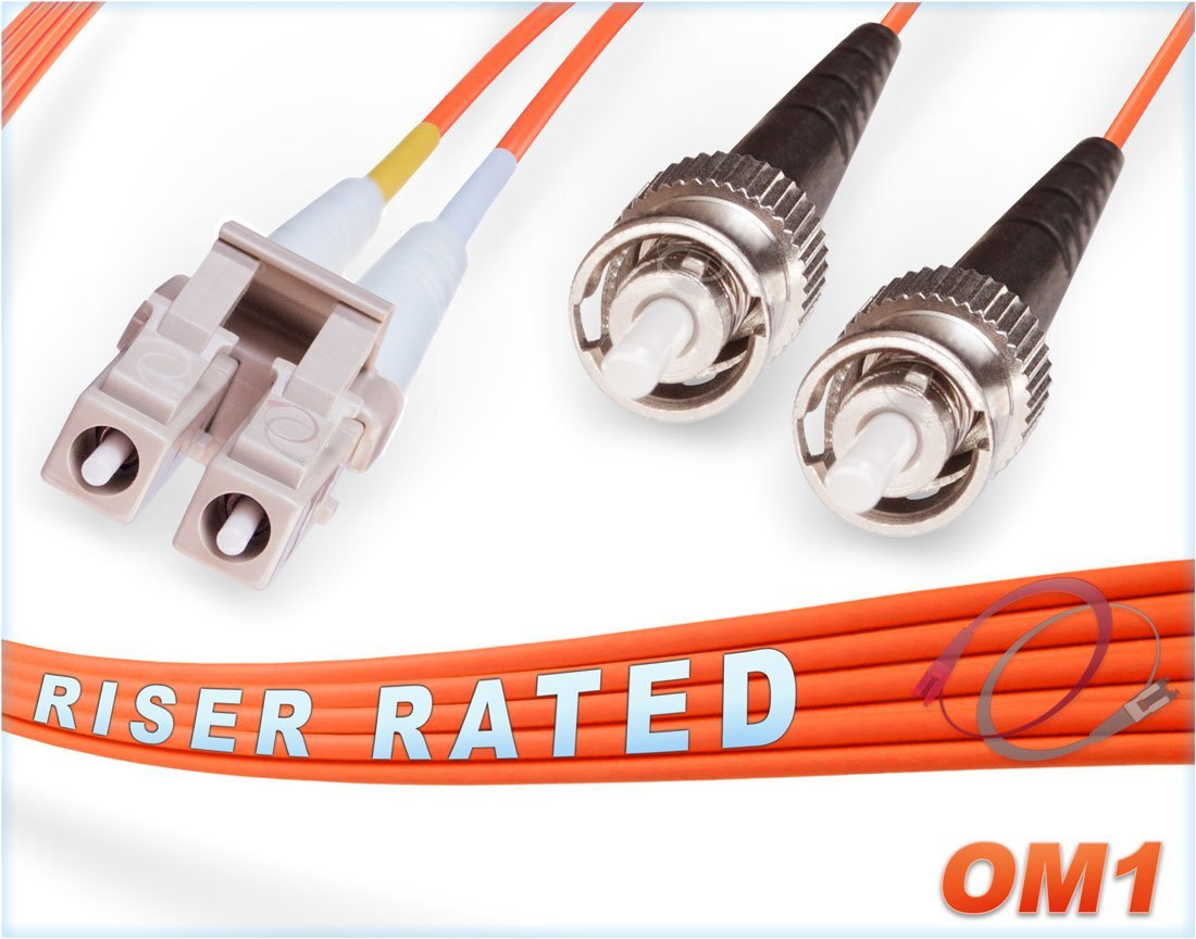 FiberCablesDirect - 55M OM1 LC ST Fiber Patch Cable   1Gb Duplex 62.5/125 LC to ST Multimode Jumper 55 Meter (180.44ft)   Length Options: 0.5M - 300M   1gb 10gb lc-st mmf UPC sfp 1gbase mmd PVC ofnr
