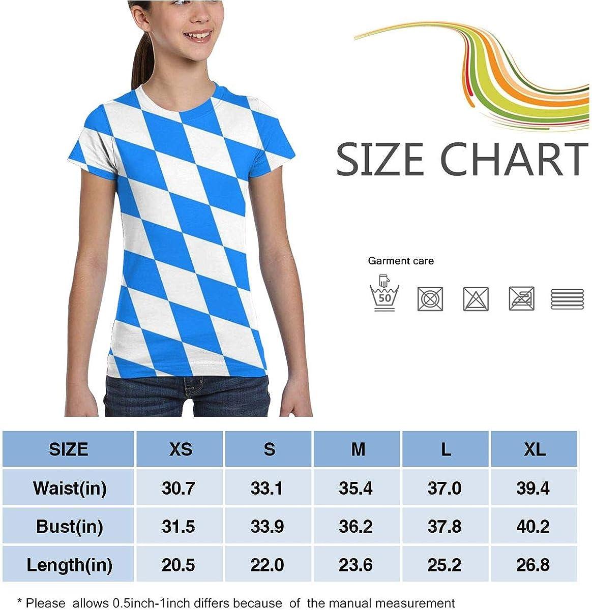 L6Nv4o@A Girls Short Sleeve Bavaria Rhombus Pattern T-Shirts Fashion Blouse Clothes XS-XL