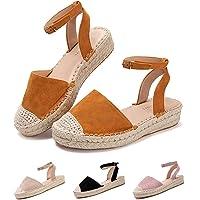 Sandalias Mujer Verano Cuña Alpargatas Plataforma Esparto Tacon Medio Alto Espadrilles Punta Cerrada Zapatos Elegantes…