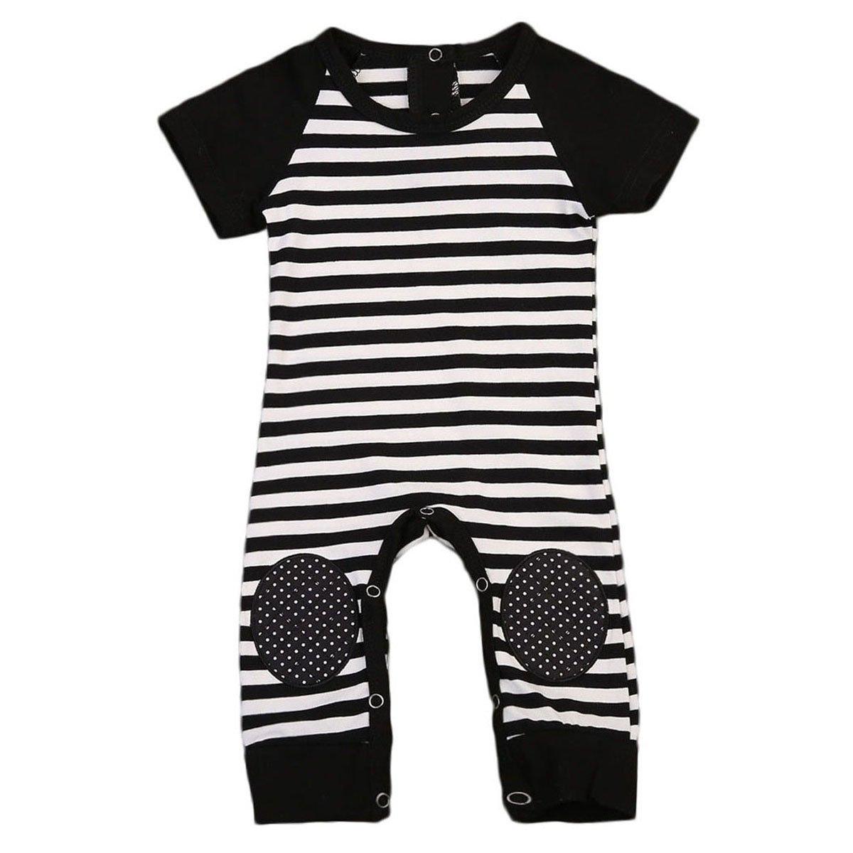 Newborn Baby Boy Striped Romper Outfits Short Sleeve Summer Bodysuit (6-12M, Black)