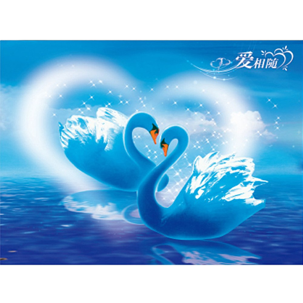 5D Diamond Painting Kit, TONVER DIY Diamond Drawing Cute Animal Pictures Embroidery Cross Stitch Kit Wall Decor for Home, Living Room, 36 * 30 cm (Swan Lake)