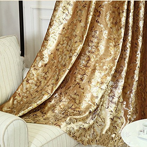 European Living Room - MYRU 1 Panel European Style Living Room Gold Curtains Room Darkening Luxury Curtains for Villa (Gold, 54 Inches Wide 84 Inches Long)