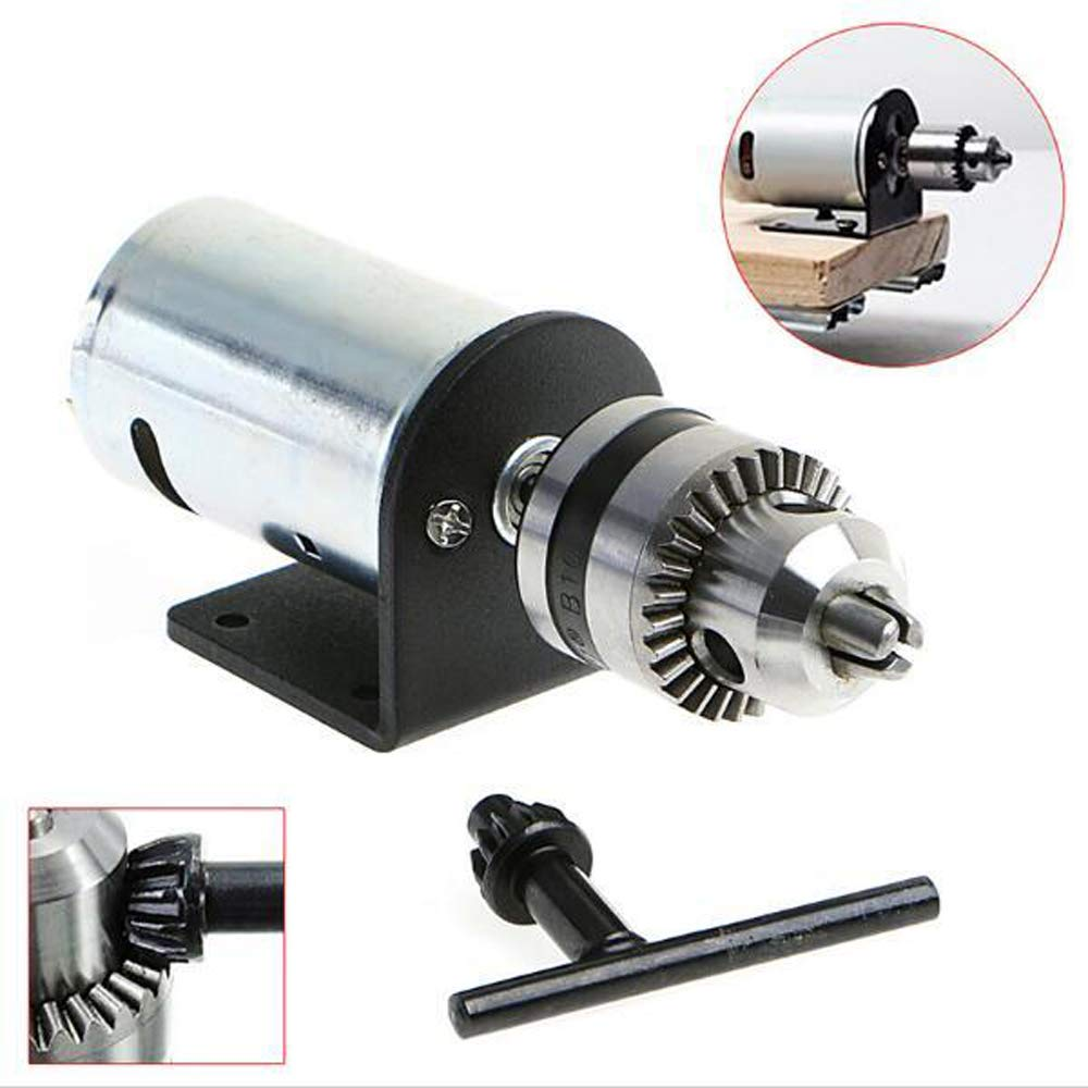 Festnight DC 12V-36V Lathe Press 555 Motor with Miniature Hand Drill Chuck and Mounting Bracket DIY Tool Set