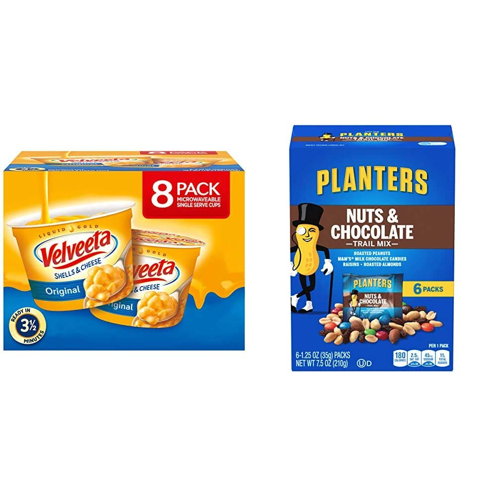 VELVEETA Original Microwavable Shells & Cheese Cups, 8 Count Box   Single Serving Cups with Delicious Velveeta Cheese Sauce & PLANTERS Nuts and Chocolate Trail Mix, 1.25 oz. Bags (6 Pack)