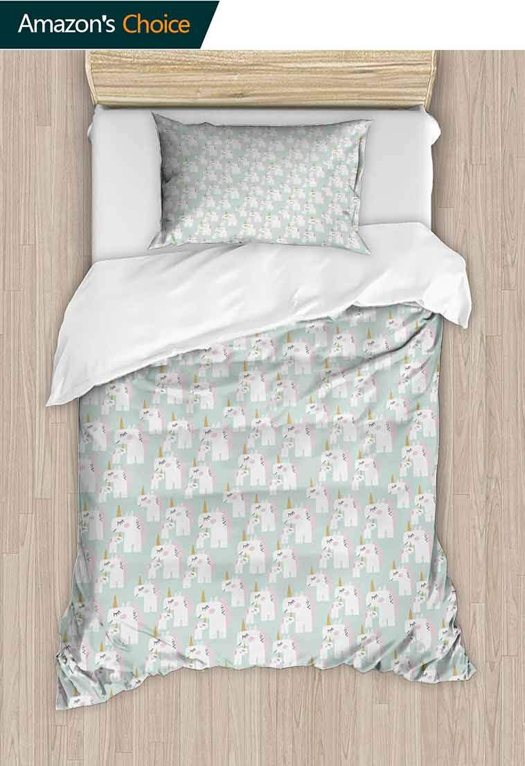 Unicorn Printed Quilt Cover and Pillowcase Set, Doodle Style Mythical Creatures Mother and Baby Horses with Horns in Pastel Tones, Bedding Set Cover with 1 Pillow Shams Decorative Quilt Cover Set