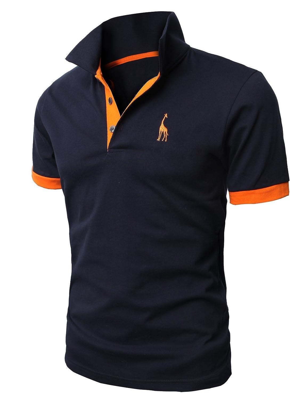 【H2H】 メンズ カジュアル ゴルフウェアー ファッション ベーシック 無地 スリームフィット ワンポイント 半袖 ポロシャツ B00M1GYSWM 5L|ネイビー ネイビー 5L