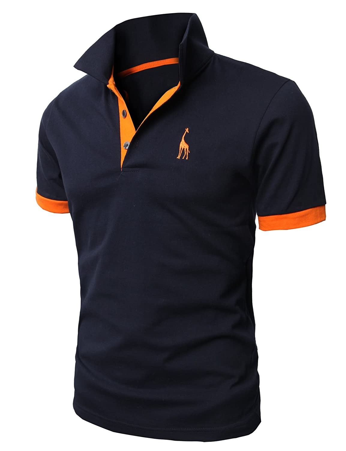 08e5b37796f627 H2H Mens Casual Slim Fit Polo T-Shirts Basic Designed with Giraffe  Embroidery at Amazon Men s Clothing store