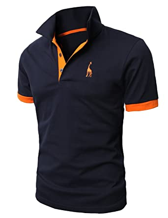 08d420feeac3 H2H Mens Casual Slim Fit Polo T-Shirts Basic Designed with Giraffe  Embroidery