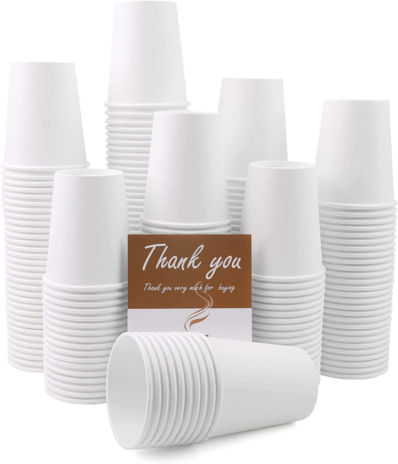 8 Oz Paper Cups, 200 Pack Disposable Paper Coffee Cups, Disposable Water Paper Cups, Hot/Cold Beverage Drinking Cup for Water, Juice, Coffee, Milk or Tea