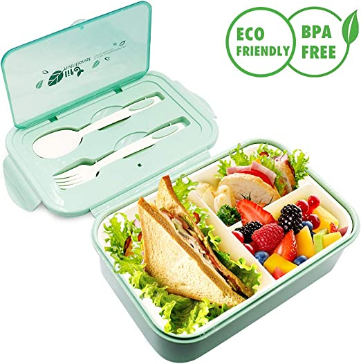 Stainless Steel Bento Lunch Box Food Storage Containers Kids Adult Spoon Fork
