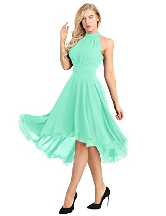 iiniim Womens Halter Neck Sleeveless High-Low Bridesmaid Chiffon Dresses Evening Party Prom Gown Mint