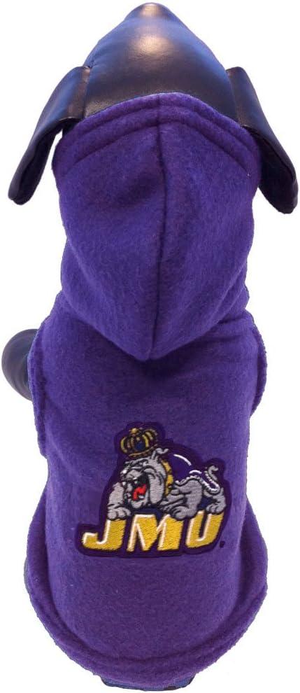 NCAA James Madison Dukes Polar Fleece Hooded Dog Jacket
