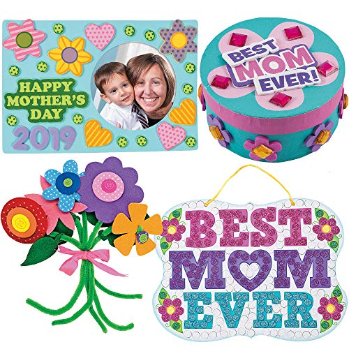 Mothers Day Craft Kit | Mum Picture Photo Frame, Self-Adhesive Flower Bouquet, Bike Magnet, Mom Glitter Mosaic Sign & Jewelry Box Craft | Kids DIY Classroom Daycare Homeschool Art Gift Toys Boys Girls
