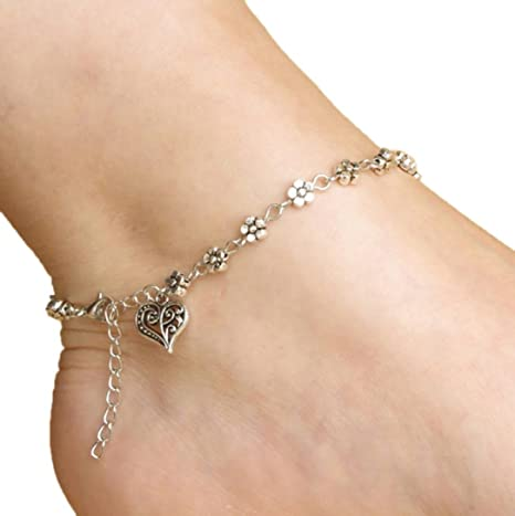 Quaant Anklet,Beach Barefoot Sandals Anklet Chain Girl Silver Heart Foot Bracelets Fashion Jewelry for Women Barefoot Silver