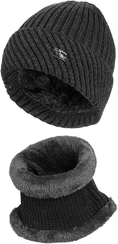 VBIGER 2Pcs Chapeau Chaud Bonnet Hiver Tricot Tour de Cou avec Doublure Polaire pour Homme