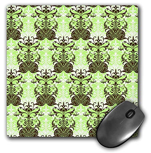 3dRose Russ Billington Patterns - Damask Wallpaper Pattern in Green Brown and White - Mousepad (mp_241042_1)