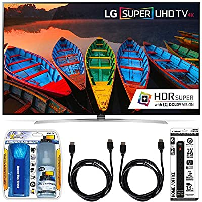 LG 65UH9500 65-Inch Super UHD 4K Smart TV w/ webOS 3.0 Accessory Bundle includes Television, Screen Cleaning Kit, Power Strip with Dual USB Ports and 2 HDMi Cables