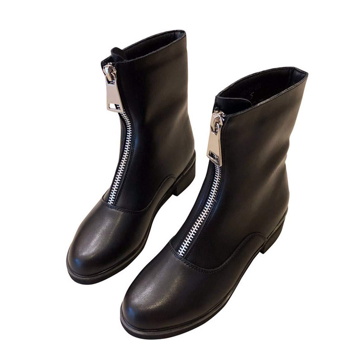LBTSQ Fashion Damenschuhe - Reißverschluss Lok - Stiefel Heel Ferse 4Cm Runden Kopf Nahen Ferse Heel Stiefel Samt Schwarze Stiefel Ritter 231fe2