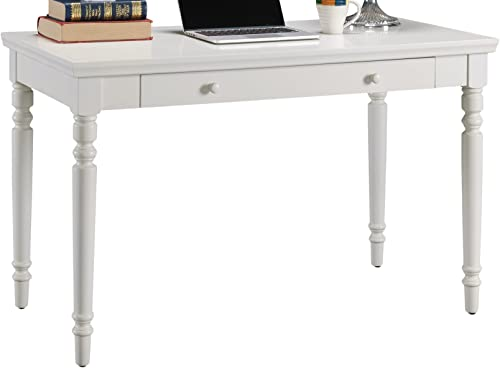 Leick Cottage White Turned leg Laptop Desk with Center Drawer