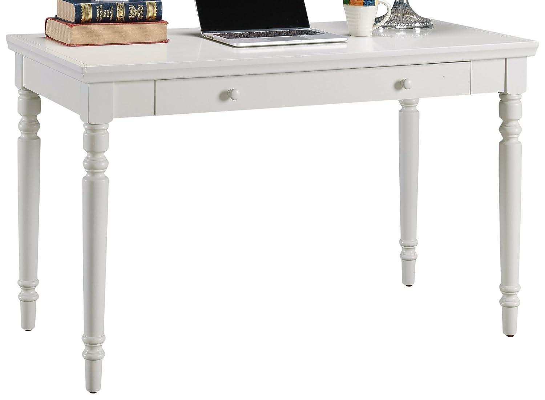 Leick 85410 Cottage White Turned Leg Laptop Desk with Center Drawer
