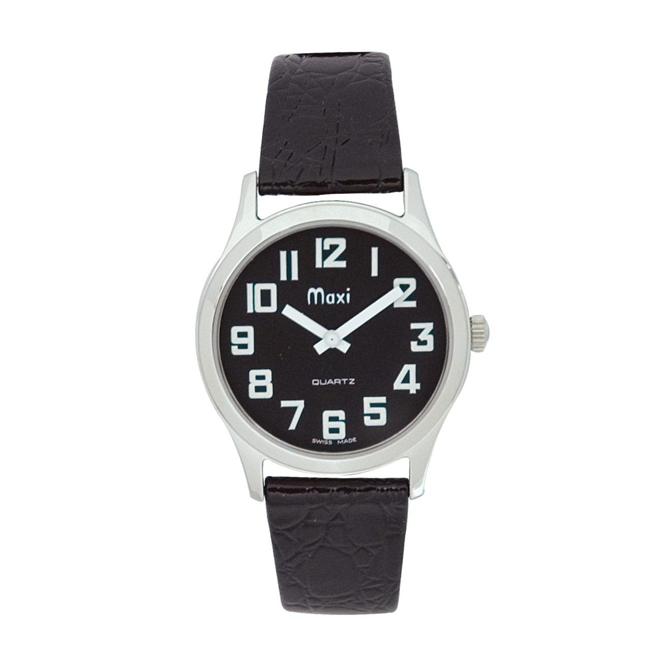 Mens Chrome Low Vision Watch, Black Face, Leather Band