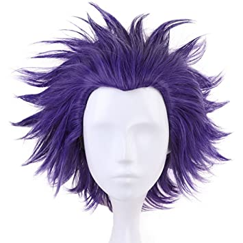 Anogol Hair Cap+Short Wavy Purple Cosplay Wig Synthetic Hair Costume Anime Wigs Fancy Dress