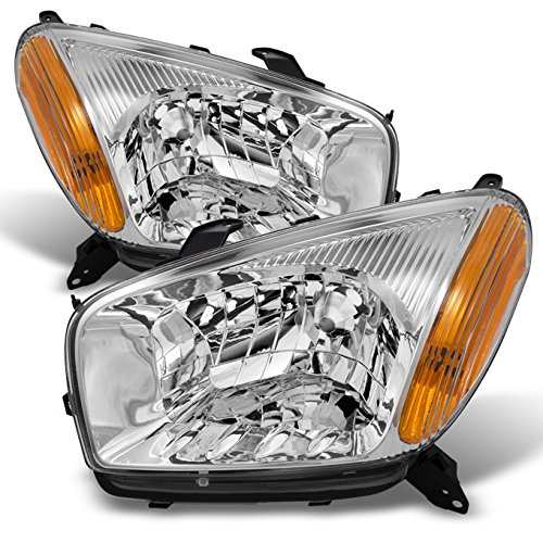 For 2001-2003 Toyota RAV4 Clear Headlights Head Lamps Driver Left + Passenger Right Side Replacement Pair Set
