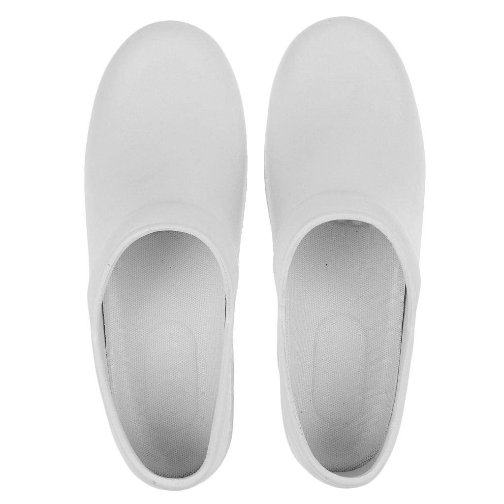 Sharplace Sandalias Zapatillas Zapatos de Seguridad Antideslizante a Prueba de Aceite Para Chef Cook Hombres Mujeres - Blanco, 38
