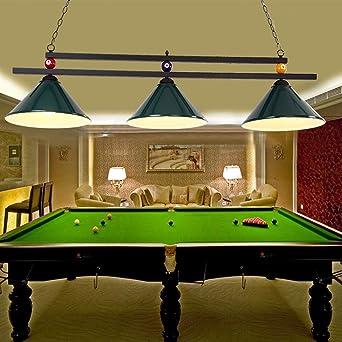 Lampe de billard lumineuse en forme de boule de billard en métal pour partie de bière dans la salle de jeux, lustre industriel avec 3 abat jours,