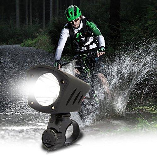 Duomishu 2 in 1 LED Fahrradlampe Fahrradlicht mit Horn Hupe vorne Fahrrad Scheinwerfer Frontleuchte Wiederaufladbare USB aufladbare LED Fahrradbeleuchtung Fahrradklingel Fahrrad vorderes Licht-Scheinwerfer, Weit Abstrahlwinkel (schwarz)