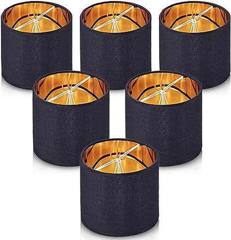 Lampada Wellmet, clip paralume su stoffa su lampadario per lampadina E14, set di 6 (Oro Nero, Tamburo 14 * 14 * 10 cm)