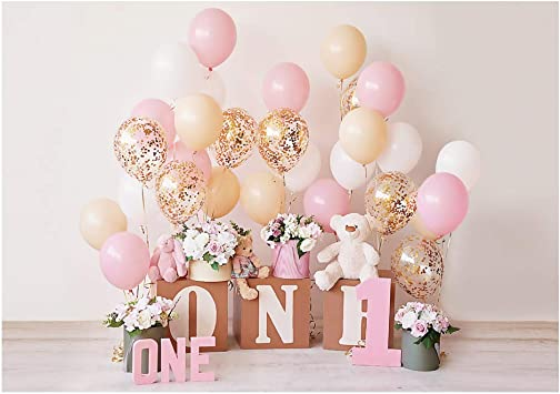Pink Peach Ivory Gold Photo booth prop cake smash decor first birthday birthday selfie station Backdrop photography prop