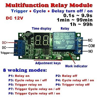 Qianson DC 5V 12V 24V Digital LED Display Infinite Cycle Delay Timer Switch ON/OFF Relay Module