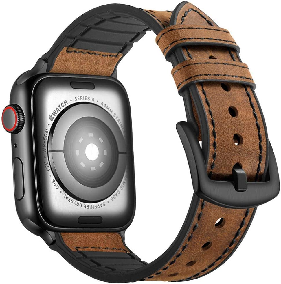 Mifa Compatible with Apple Watch Band 40mm 38mm Series 5 4 3 Hybrid Sports Leather Vintage Dressy Bands Dark Brown Replacement Straps Sweatproof iwatch Nike Space Black Grey Men (40/38mm - Brown)
